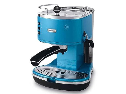DeLonghi Eco 311.B Cafetera con compresor de café integrado, 1100 W, 1.4 litros, Acero Inoxidable, plástico, Azul