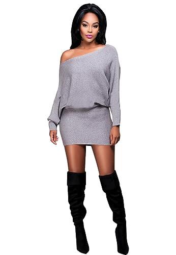 Women Casual Off Shoulder Long Batwing Sleeve Package Hip Clubwear Mini Dress