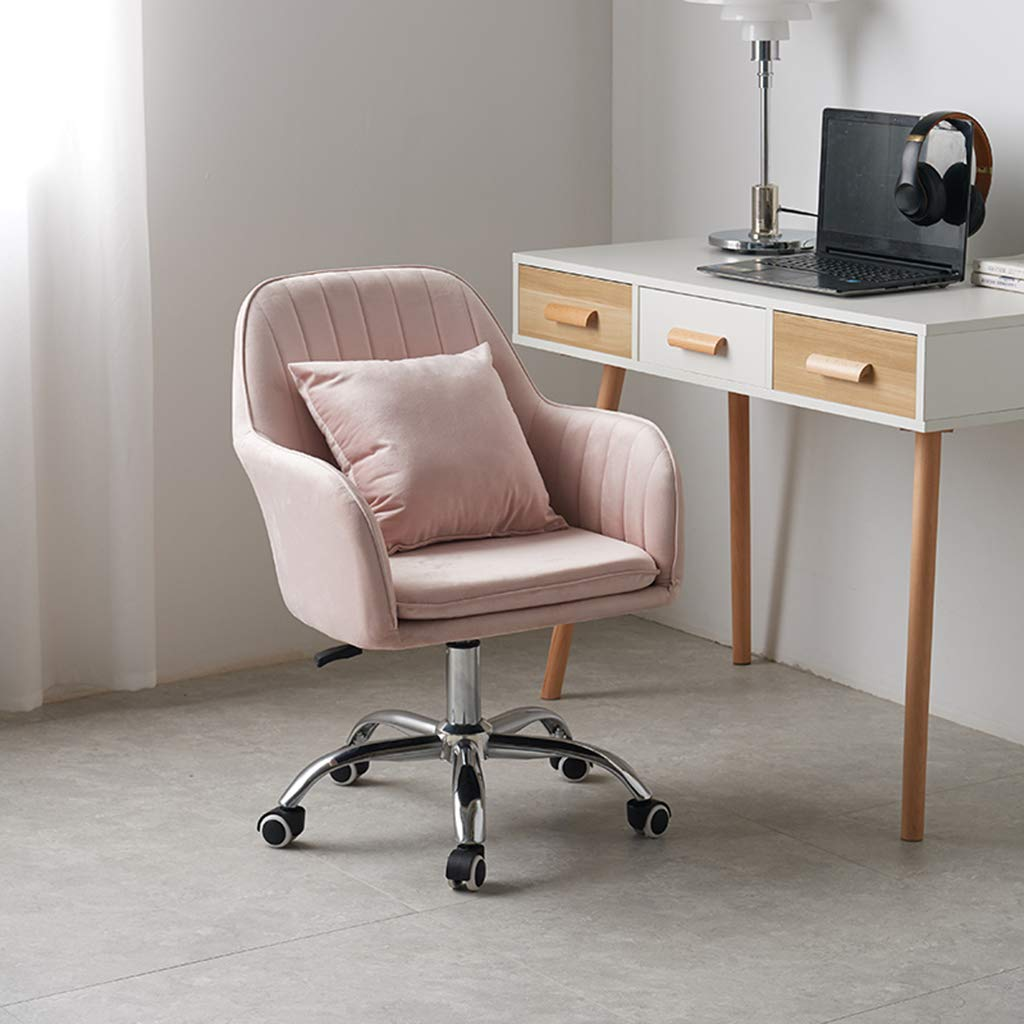 YLMF Ergonomisk kontorsstol justerbar höjd flanell kudde och ryggstöd mode dator kontor stol hög densitet återstuds svamp femstjärniga stålfötter Rosa