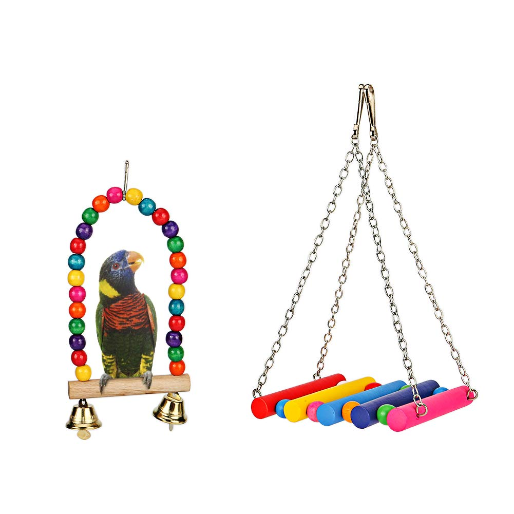 Echeer Parred Swing Toy 2 Pack, Pet Bird Swing Toy Parakeet Bite Resistant Play Toy Wooden Budgie Toys Pet Bird Cage Hammock Swing Hanging Toy