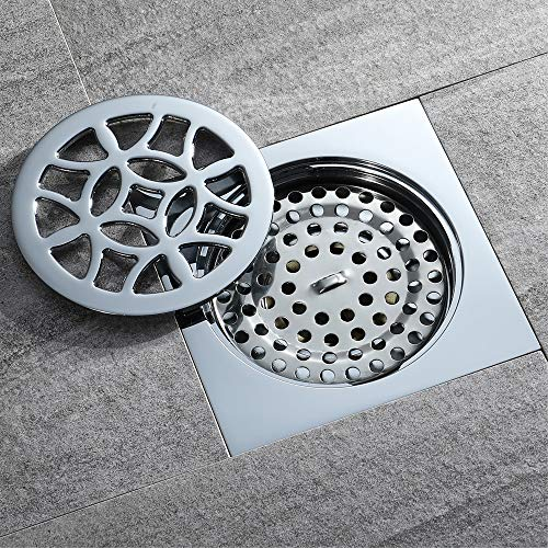 4-Inch Square Shower Floor Drain Tile Insert Pure Cupper Brushed Grate Strainer With Removable Cover Anti-Clogging, High-Grade Bronze Floor Drain by YJZ (Image #2)