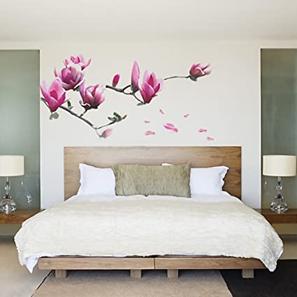 Soledi Magnolia Flower Tree Floral Vinyl Art Wall Stickers Removale Decals  Mural Art Design DIY Home