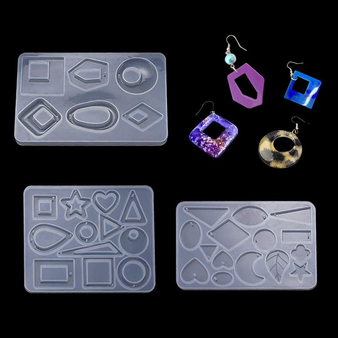 FineInno Resin Molds,Leaf Earring Mold,Teardrop Silicone Mould Epoxy Resin Moulds Snowflake Pendant Mould Making Jewelry Casting Mould Heart Mould Cute Earring Mold