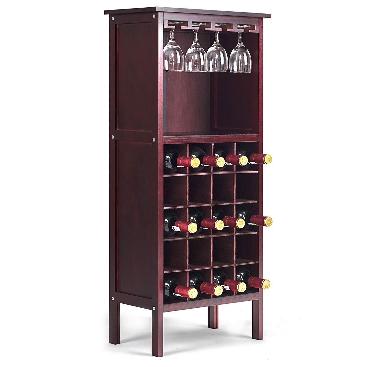 Giantex 20 Bottle Wine Cabinet Wood Wine Rack Bottle Holder Storage Display Shelf Wine Bottle Organizer w/Glass Hanger