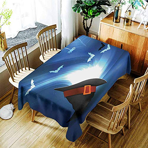 AGONIU Waterproof Table Cover,Halloween Party Bright Picture 6,Dinner Picnic Table Cloth Home Decoration,W54x72L ()