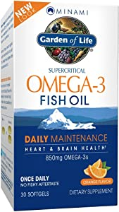 Garden of Life EPA/DHA Omega 3 Fish Oil - Minami Natural Brain Function, Heart and Mood Supplement, 30 Softgels