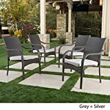 San Miguel | Wicker Stacking Outdoor Dining Chairs | Set of 4 | Perfect for Patio | Grey For Sale