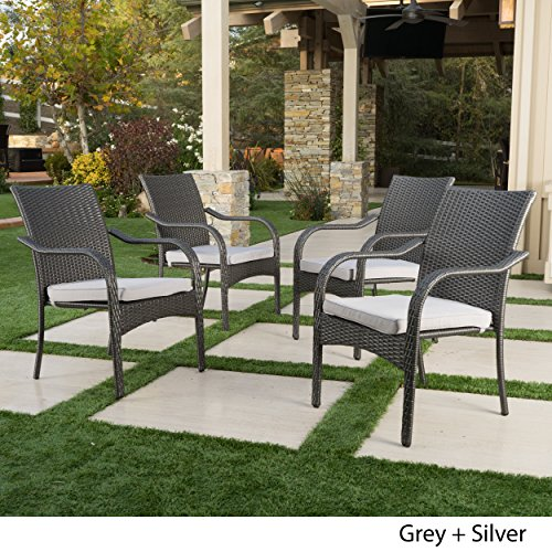 Stacking Outdoor Dining Chairs | Set of 4 | Perfect for Patio | Grey ()