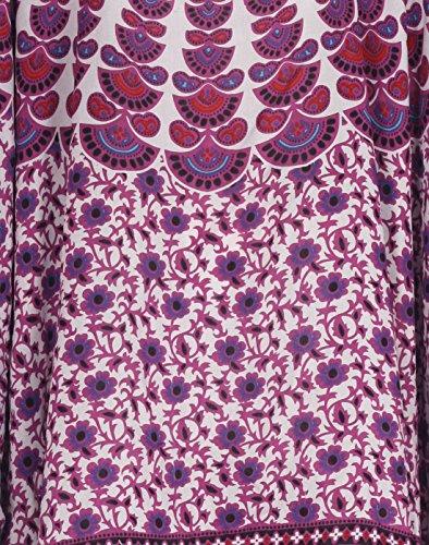 Tropicalsale Women's Purple White Striped Kaftan Tunic Top Big Plus Size