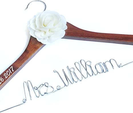 Wedding gift Wedding dress hanger wedding keepsake gifts Personalised bridebridesmaid names dress hangers Personalised Clothes hangers