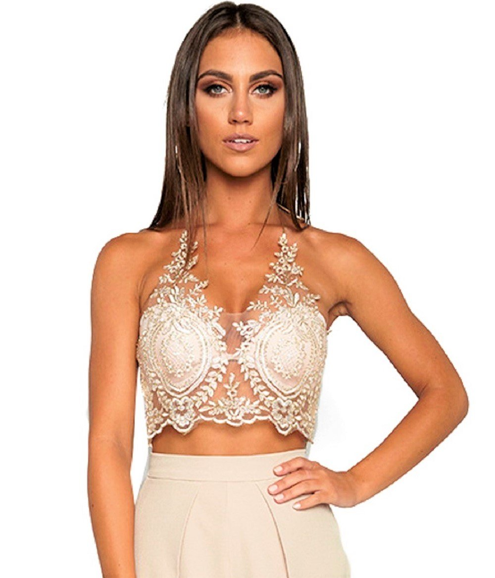 JeVenis Women's Halter Neck Tank Gold Crop Top Sleeveless Lace Vest Embroidered Bustier Top