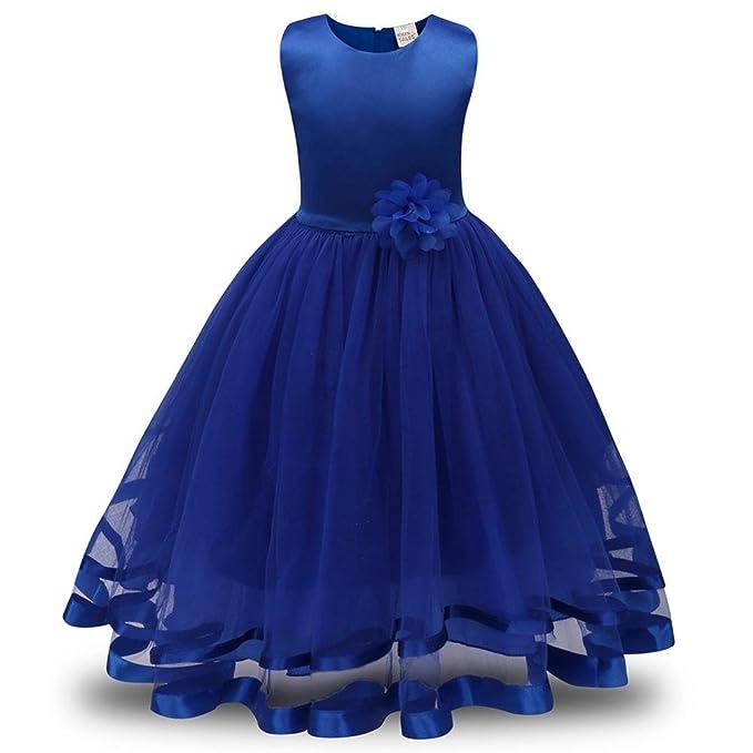 QUICKLYLY Vestidos Cortos Bautizo Bebé Niñas Princesa Para Bodas Gasas Princesa Tutu Traje (Azul,