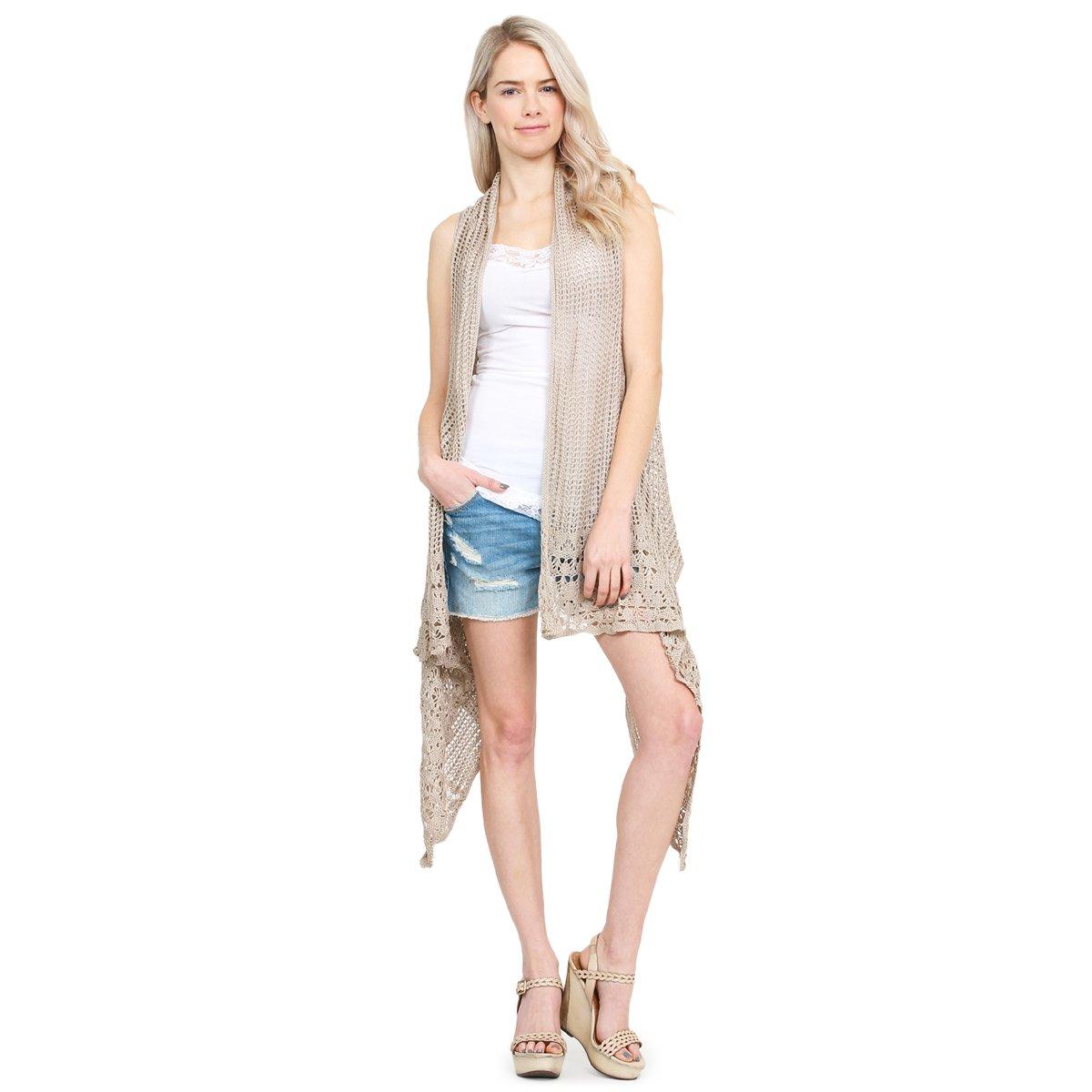 MYS Collection Crochet Knit Pattern Long Drape Vest - Beachwear Open Knitted Bathing Swimsuit Bikini Cover up Kaftan Shawl (Beige)