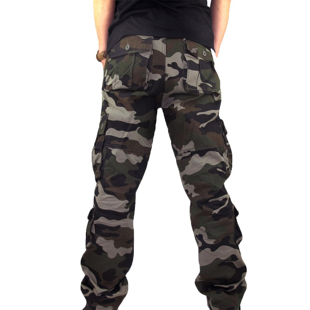 HHei_K Mens Plus Size Casual Cotton Solid Camouflage Pocket Work Long Trouser Sport Overalls Pants by HHei_K (Image #4)
