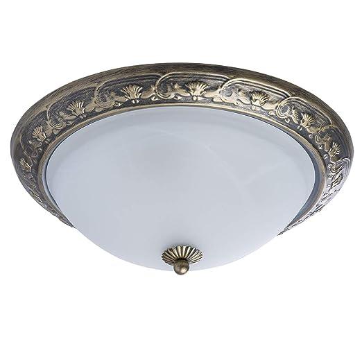 MW-Light 450015703 Lámpara de Techo Plafón Metal Color Bronce Antiguo Shabby Chic Redonda Vintage Ornamentos Originales Plafón de Vidrio Mate Para ...