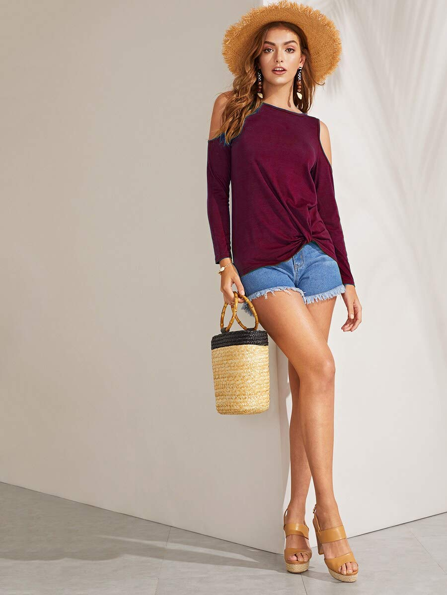 Eanklosco Womens Long Sleeve Cold Shoulder Cut Out T Shirts Casual Knot Tunic Tops (Wine Red, L)