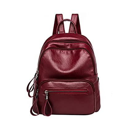 Image Unavailable. Image not available for. Color  Slendima 2018 New Faux  Leather Waterproof Zipper Backpack 37bbfe65e078