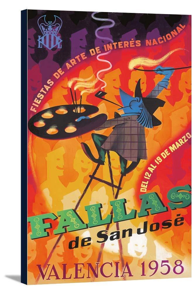 Fallas de San Joseヴィンテージポスター(アーティスト:匿名)スペインC。1958 15 x 24 Gallery Canvas LANT-3P-SC-73912-16x24 B01DZ1Y1EG  15 x 24 Gallery Canvas