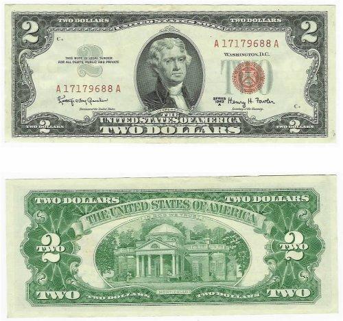 1963-A 2 Dollars Legal Tender - Seal Dollar Bill