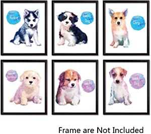 Sign Leader Beagle Corgi Golden Retriever Husky Puppy Dog Watercolor Canvas Wall Art Prints-Set of 6-Unframed-8x10 inches