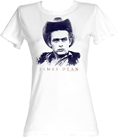 2Bhip James Dean Americana Galán Icono de Estilo de época Jett Pista de la Camiseta de Años 50 para Mujer Grande Blanco: Amazon.es: Ropa y accesorios
