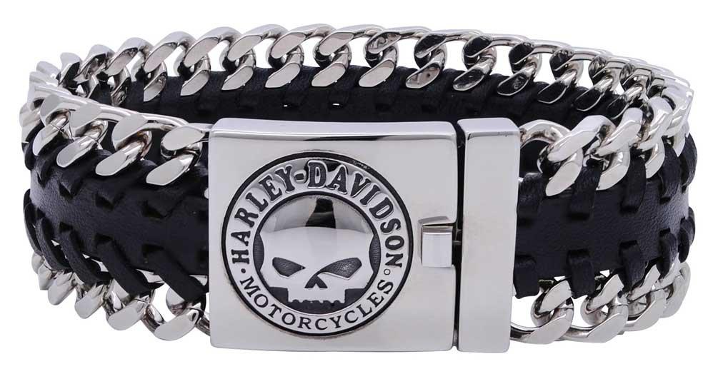 Harley-Davidson Men's Hidden Clasp Willie G Skull Bracelet, Black HSB0183 (9)