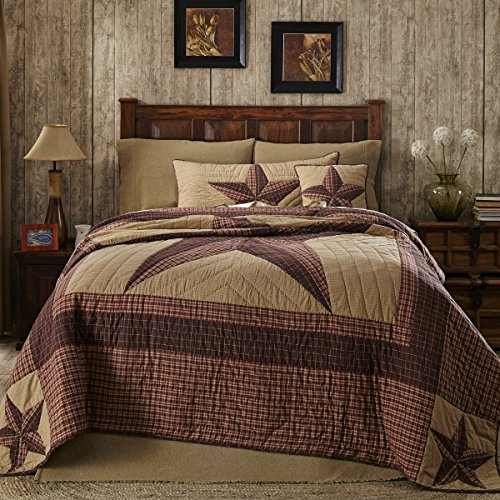 VHC Brands Classic Country Primitive Bedding-Landon Tan Quilt, Luxury King