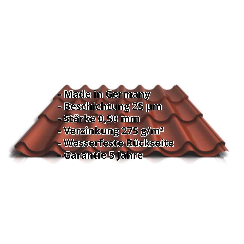 Ziegelblech Material Stahl Beschichtung 25 /µm Dachziegelblech Profil PS47//1060RT St/ärke 0,50 mm Pfannenblech Farbe Rotbraun