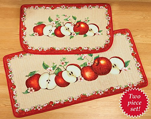 Set of 2 Decorative Cushioned Red Apple Orchard Country Kitchen Home Accent Mat Rug Mat
