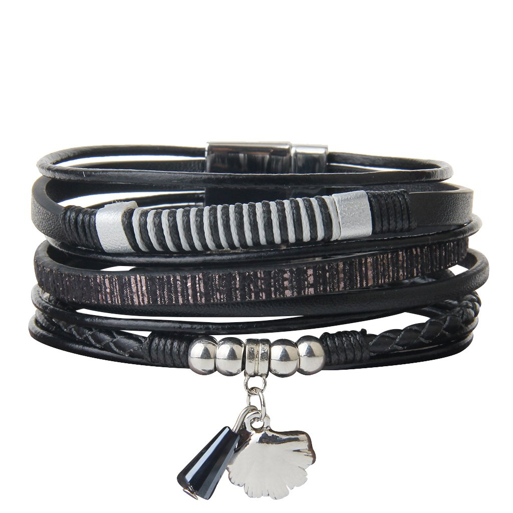 Black Leather Ropes String Wrapped Shell Accent Cuff Bracelets - DeluxeAdultCostumes.com