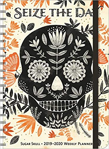 sugar skull 2019 2020 on the go weekly planner 17 month calendar with pocket aug 2019 dec 2020 5 x 7 closed