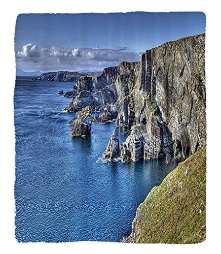 Chaoran 1 Fleece Blanket on Amazon Super Silky Soft All Season Super Plush Decorations Collection Atlantic Coast Cliffs at Mizen Head County Cork Irel Ocean Coastalcenery Image Fabric et Grey Olive