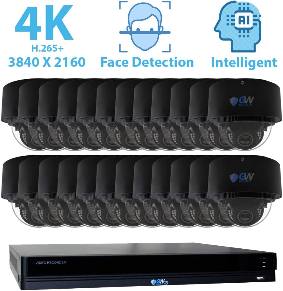 GW Security 32 Channel 4K NVR 8MP 3840×2160 H.265 IP PoE Security Camera System with 24 UHD 4K 2.8-12mm Varifocal Zoom 8 Megapixel Weatherproof Dome Camera, Face Recognition, Intelligence Analytics