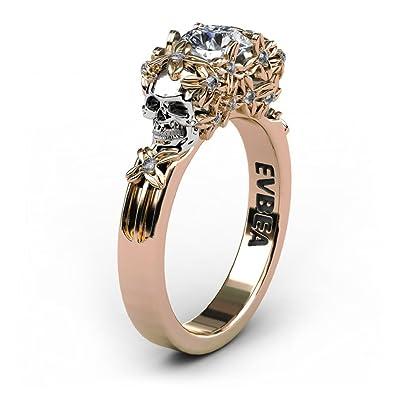 797e6078ae9e Anillo de compromiso de oro dorado con diamante.  Amazon.es  Joyería