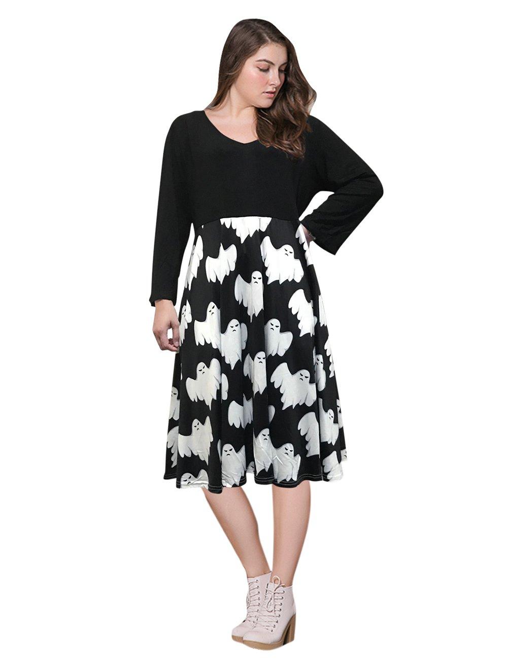 AMZ PLUS Women Plus Size 3/4 Sleeve Swing Party Casual Dresses Black 2XL