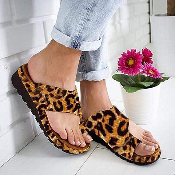 Sandales Petit Cercle Chaussures d/ét/é Hyxxd Pantoufles pour Femmes orthop/édiques orth/èses Sandales Plates Tout-Aller Tongs pour Femmes compens/ées adapt/ées /à la Taille des Orteils
