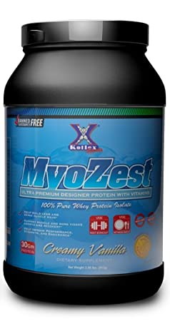 MYOZEST Ultra Premium Designer Whey Protein Isolate with Vitamins – Post Workout – Meal Replacement Protein – Creamy Vanilla – 2 LB