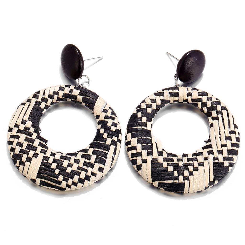 Tanwpn New Fashion Geometric Wood Bamboo Rattan Round Hollow Earrings Creative Stud Earrings for Women Girls Jewelry Gift