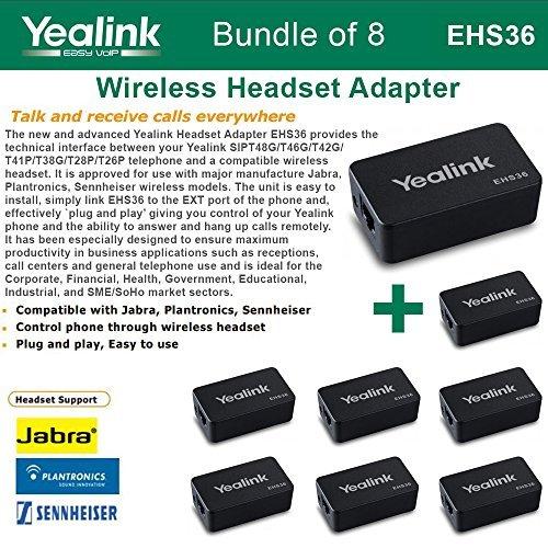 - Yealink EHS36 - Bundle of 8 IP Phone Wireless Headset Adapters