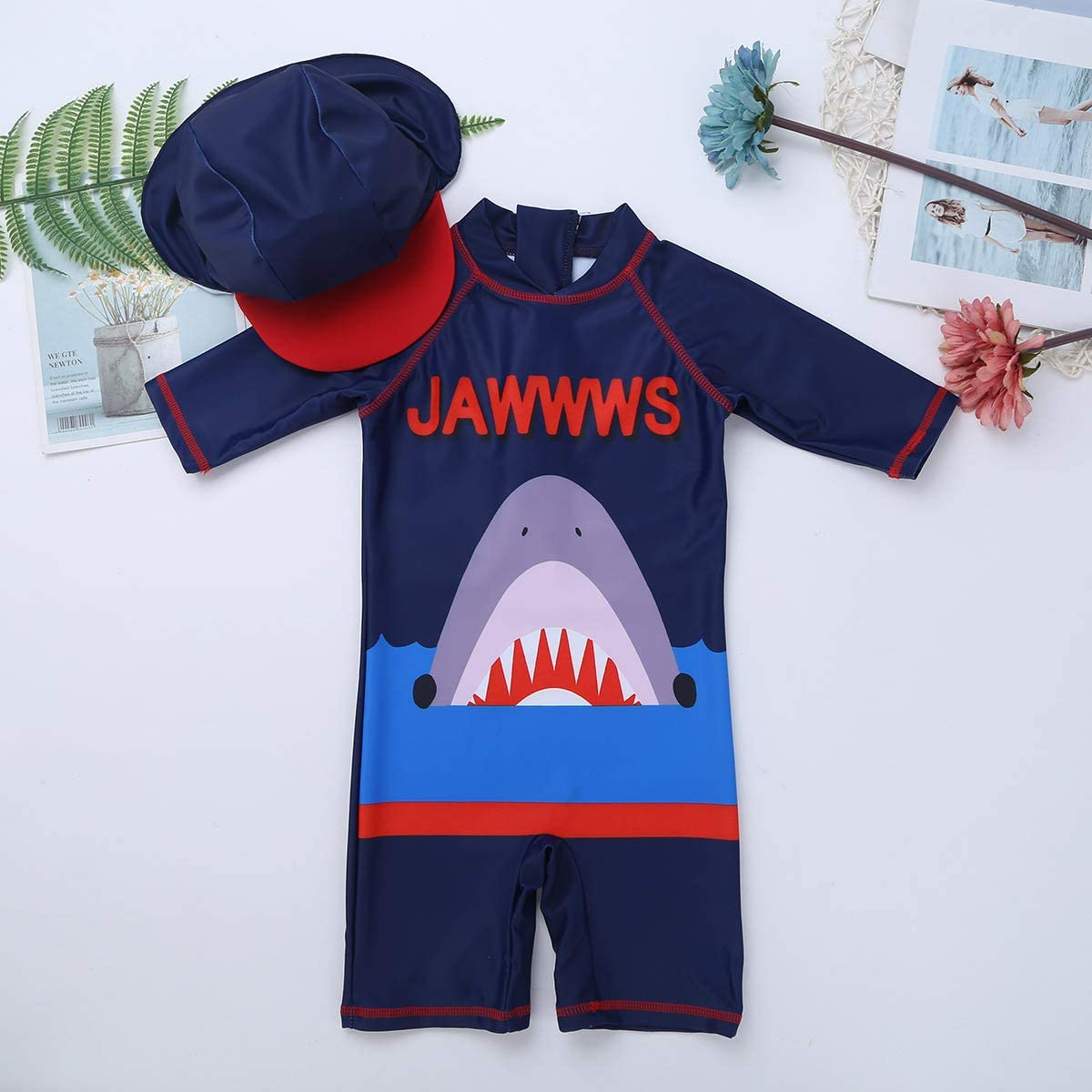 moily Kids Baby Boys Shark Bro Swimsuit Rash Guard Shorty Shirts with Sun Cap Sun Protective Beachwear