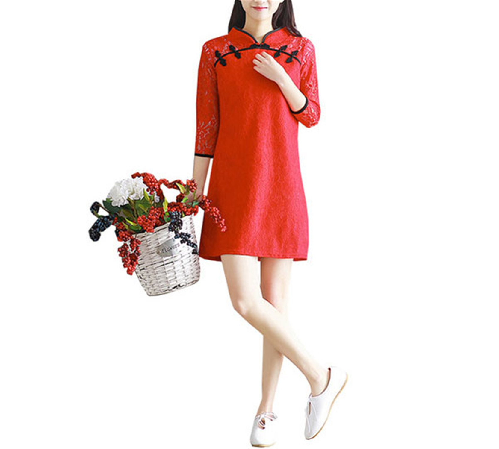 Coac3 Women Dresses Summer Vintage Ethnic Traditional Chinese Improved Cheongsam Qipao Elegant Lace Dress Red L