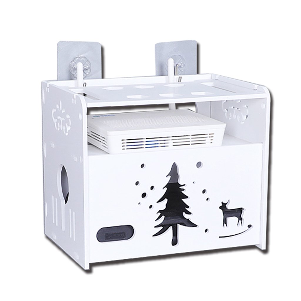 Wireless Router Storage Box - Light Cat WiFi Set-top Box Rack, Power Plug-in Cable Box Wall Mount (free Punch)