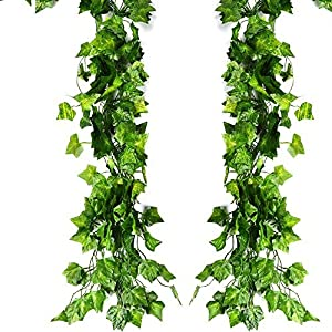 ATPWONZ 12 Pack 80Ft Artificial Ivy Leaves Greenery Garland Vine Hanging Fake Foliage Flowers for Wedding Party Garden Wall Decoration 92