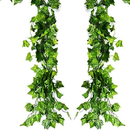 ATPWONZ 12 Pack 80Ft Artificial Ivy Leaves Greenery Garland Vine Hanging Fake Foliage Flowers for Wedding Party Garden Wall -