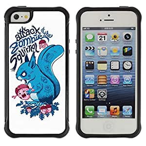 Hybrid Anti-Shock Defend Case for Apple iPhone 5 5S / Zombie Squirrel