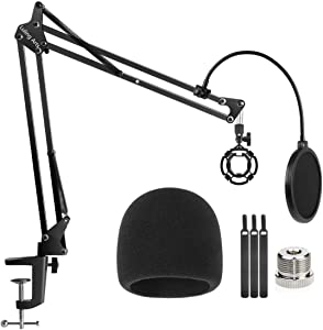 Desktop Microphone Stand for Blue Yeti and Blue Yeti Pro with Mic Windscreen and Double Layered Screen Pop Filter Heavy Duty Boom Scissor Arm Condenser Mic Stands,Broadcasting and Recording