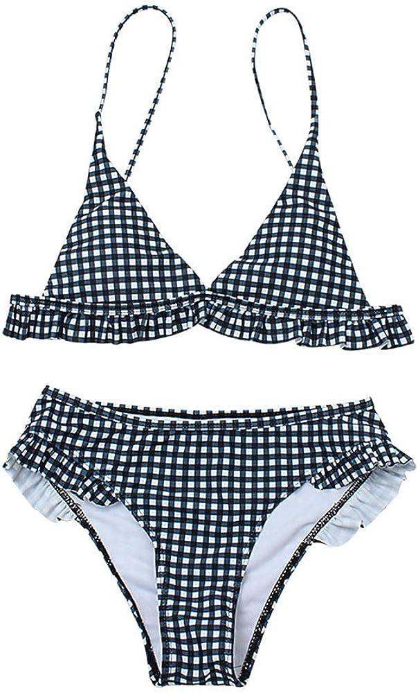 CheChury Donna Costume da Bagno Push Up Imbottito Reggiseno Bikini Donna Due Pezzi Swimwear Abiti da Spiaggia Stampa a Quadri Vintage Brasiliano Cute Beachwear Ruffles Flounce Regolabile