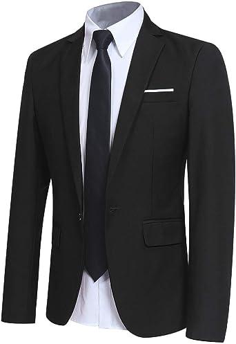 Mens Slim Solid Velour 1-Button Business Casual Suit Blazer Jackets