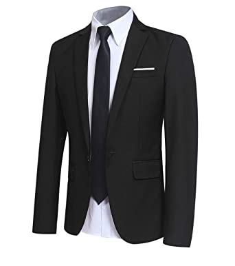 6f15b9aa Men' Slim Fit One Button Blazer Jacket Casual/Party Sport Coat at ...