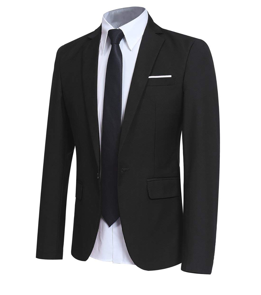 Men' Slim Fit One Button Blazer Jacket Casual/Party Sport Coat Black